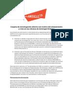 Carpeta de investigación abierta con motivo del allanamiento y robo en las oficinas de Aristegui Noticias