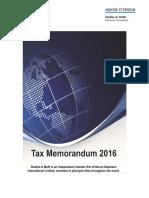 Tax Memorandum 2016