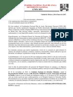 200117. Comunicado sobre recomendación 054.2016 de CNDH a Gobierno de Puebla