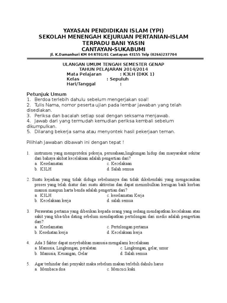 Contoh Soal Dan Jawaban K3lh