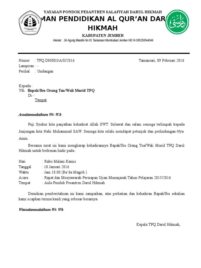 Contoh Surat Undangan Rapat Untuk Orang Tua Wali Murid