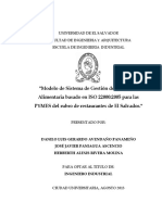 Modelo de Sistema de Gestión de Inocuidad Alimentaria Basado en ISO 22000-2005 Para Las PYMES Del Rubro de Restaurantes de El Salvador