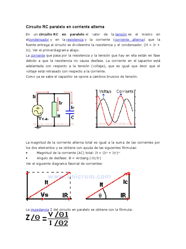 Circuito Rc : Circuito rc paralelo en corriente alterna