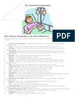 ESL Doctors Vocabulary List to Print
