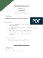DSP_Crs Info Sheet_Fall 2016