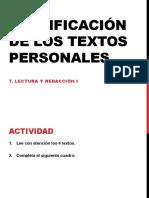 Clasificacic3b3n de Los Textos Personales
