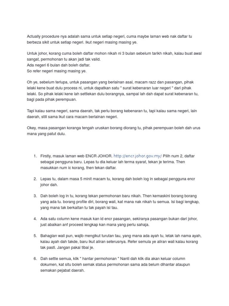 Procedure Borang Nikah