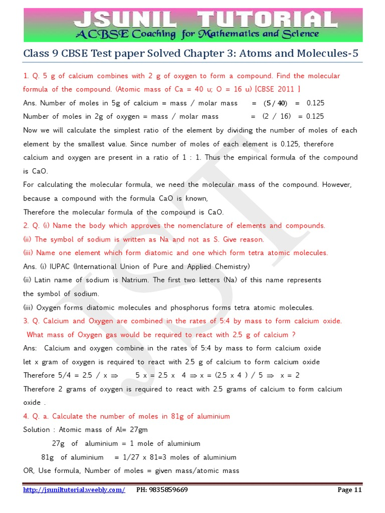 9th atoms and molecules solved test paper 5 mole unit 9th atoms and molecules solved test paper 5 mole unit chemical compounds buycottarizona Choice Image