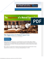 The Suppression of a Natural Cancer Cure