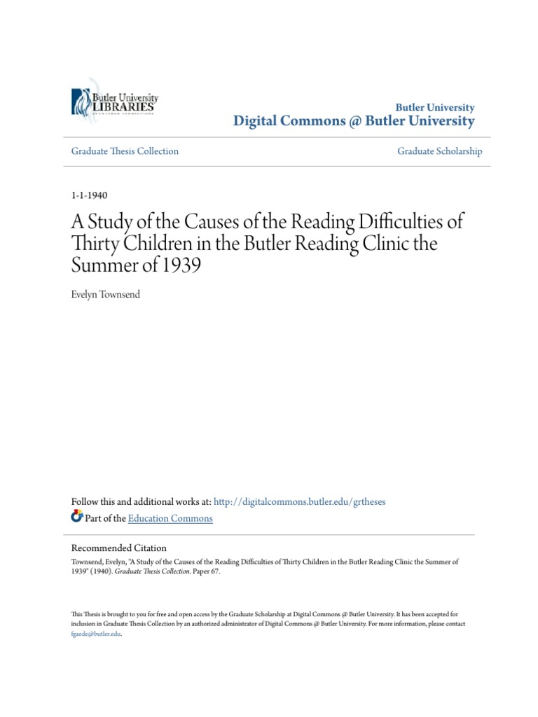 A Study Of The Causes Of The Reading Difficulties Of Thirty