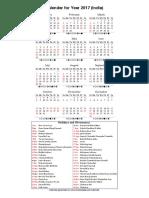 Year 2017 Calendar – India
