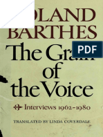 Roland Barthes the Grain of the Voice Interviews 1962 1980