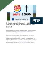 Neves - O Dia Em Que o McDonald's Resolveu Indicar Como Chegar Ao Burger King Mais Próximo