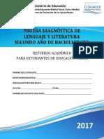 Prueba Diagnc3b3stica Lenguaje y Literatura Segundo Ac3b1o de Bachillerato 2017
