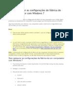 Como Restaurar as Configurações de Fábrica de Um Computador Com Windows 7