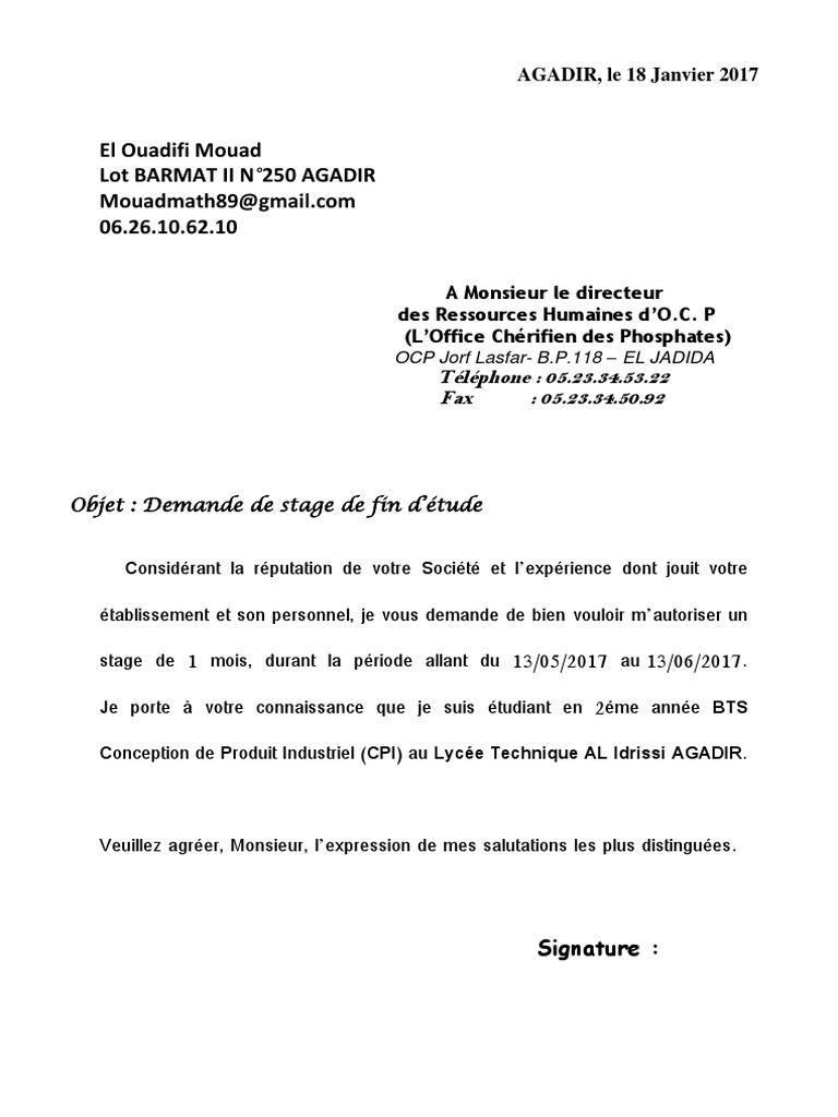 rtf  demande de stage pdf