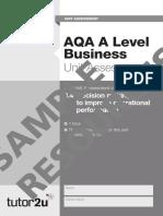 AQA a Level Business Unit Assessment Unit 3.4 Sample