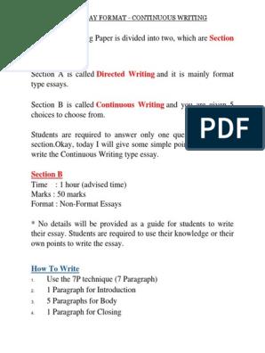 Spm English Essay Format | Paragraph | Punctuation