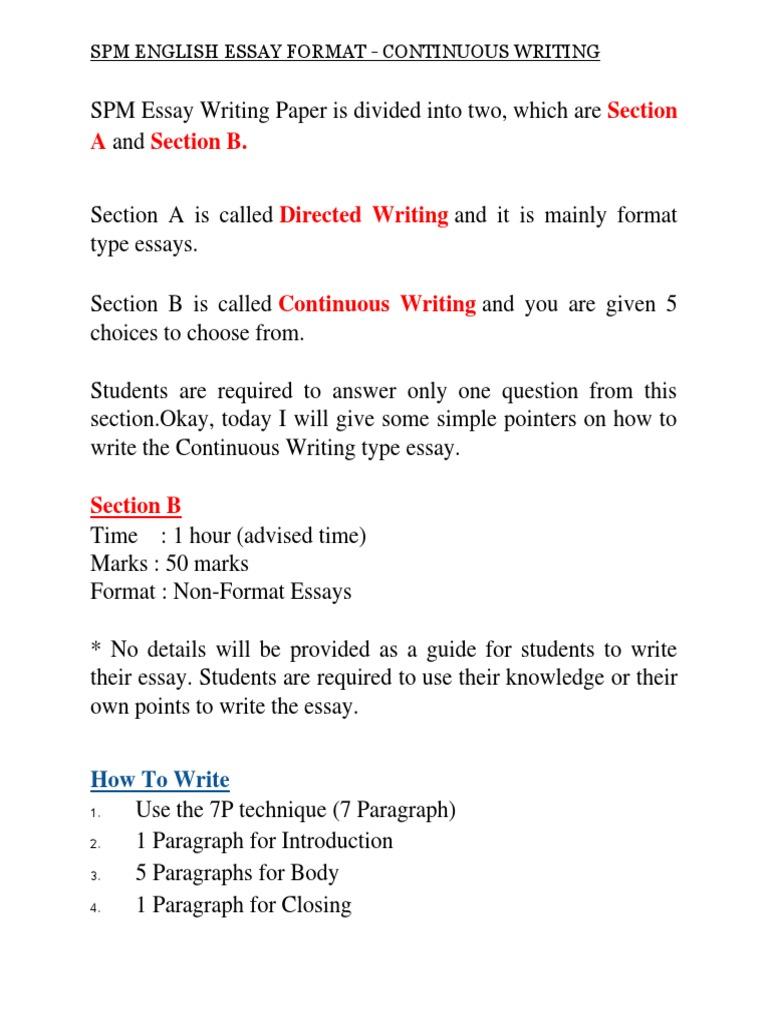 Spm english essay format paragraph punctuation