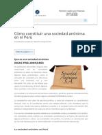 Cómo Constituir Una Sociedad Anónima en El Perú