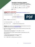 proportionnalite et fonctions lineaires   (anc prog - 3ème-)