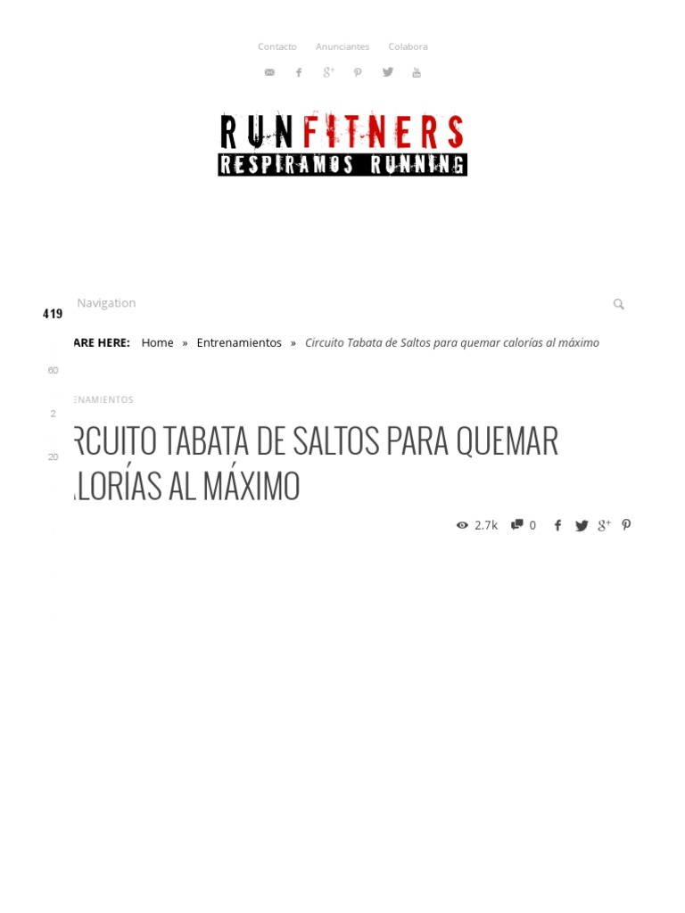 Circuito Tabata : Circuito tabata de saltos para quemar calorías al máximo runfitners