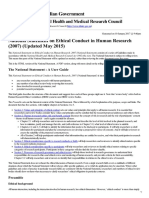 National Statement on Ethical Conduct in Human Research (2007) (Updated May 2015) - 15-May-2015