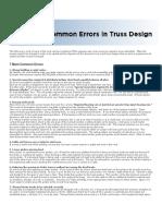 Common Errors in Truss Design