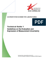 Sac Singlas Technical Guide 1 a Guidelines on the Evaluation and Expression of Measurement Uncertainty Second Edition March 2001