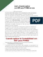 Segun NIIF's Que Es Una PYME