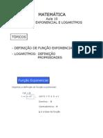 Matemática - Aula 10 - Função exponencial e logaritmos