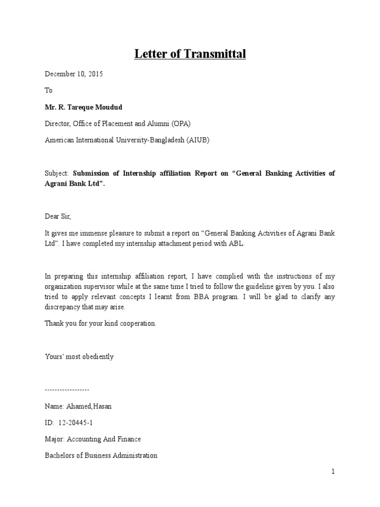 Example Of Letter Of Transmittal For A Report from imgv2-1-f.scribdassets.com