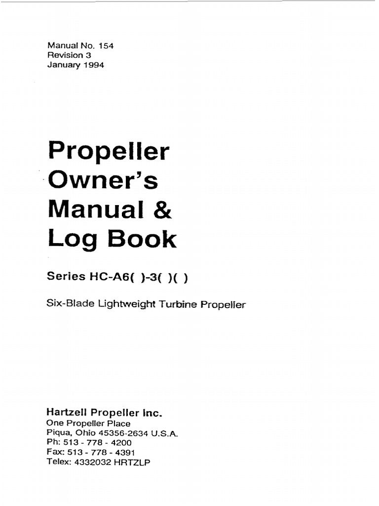 Propeller Owners Manual and Log Book - Hartzell.pdf | Propeller | Composite  Material