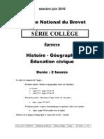 DNB hist-géo série collège 30 juin 2010