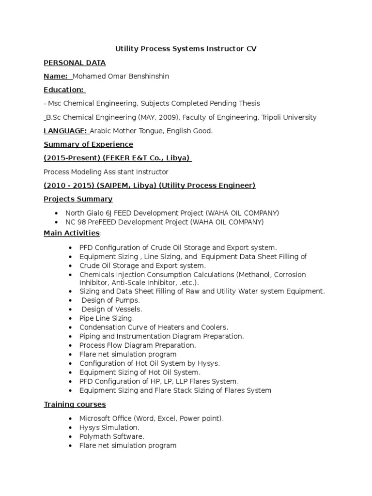 Utility Process Systems Instructor CV