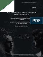 Ação Do Lírico Na Dramaturgia Contemporânea, Cleise Furtado Mendes UFBA