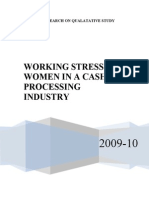 Working Stress of Women in a Cashew Processing Industry