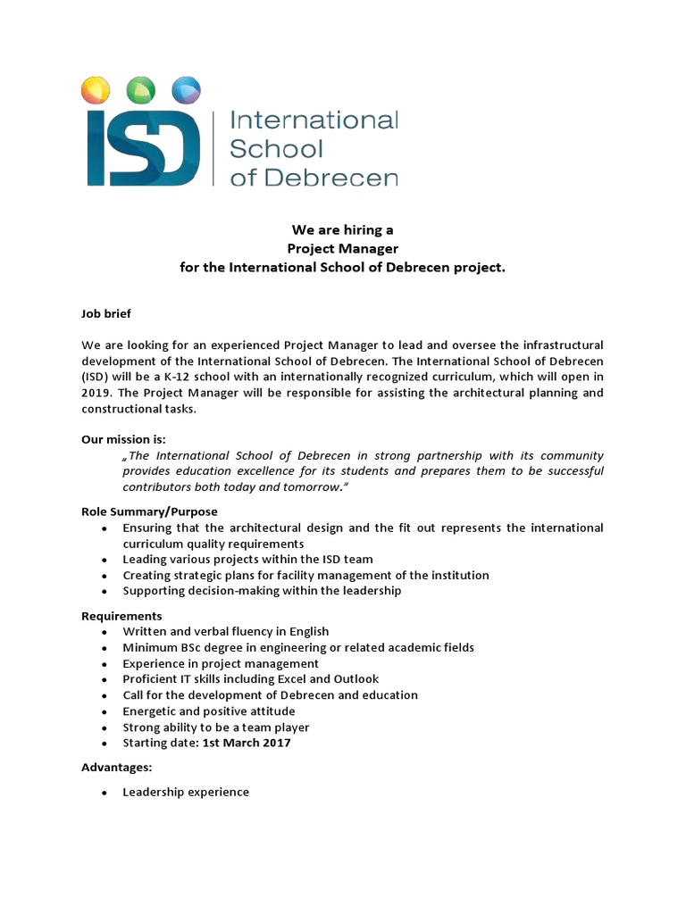 Resume CV Cover Letter banner sweet design technical project – Project Manager Job Description