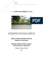 Estudio de Suelos Institucion Educativa El Hatillo - Municipio de Barbosa