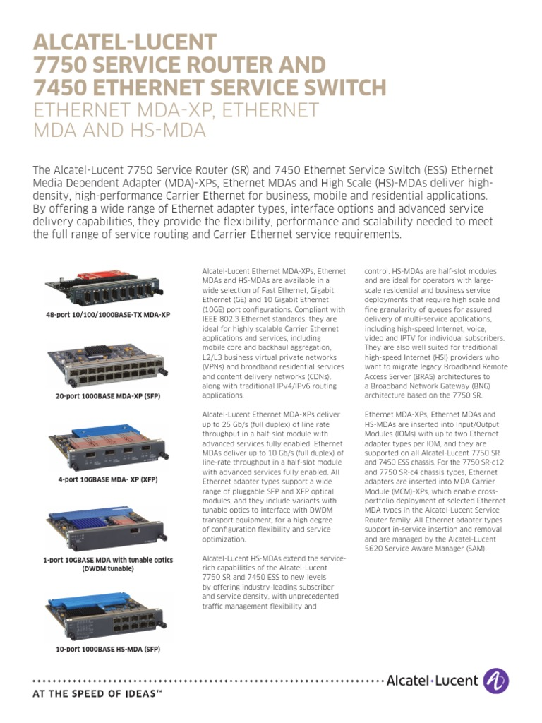 7750 SR and 7450 ESS Ethernet MDA en DataSheet | Ethernet