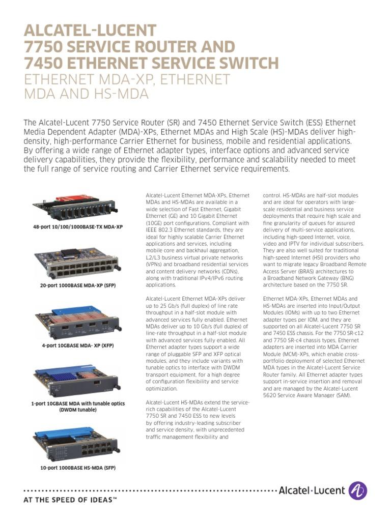 7750 SR and 7450 ESS Ethernet MDA en DataSheet | Ethernet