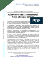 Aguirre defiende a los madrileños frente a huelgas salvajes