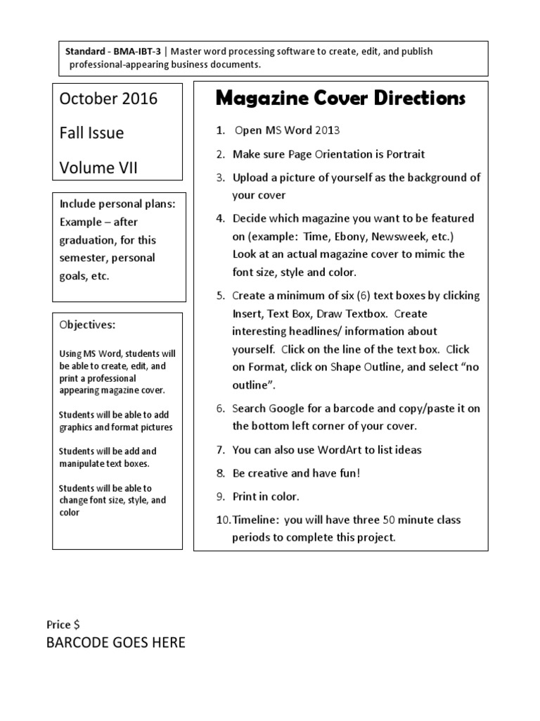 magazine cover directions p