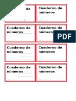 Etiquetas de Cuadernos y Carpetas 2017