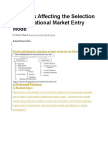 2 Factors Affecting the Selection of International Market Entry Mode