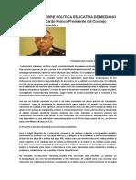 Eflexiones Sobre Política Educativa de Mediano Plazo Andrés Cardó Franco Presidente Del Consejo Nacional de Educación
