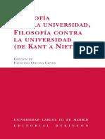 Filosofía para la Universidad, Filosofía contra la Universidad (De Kant a Nietzsche)