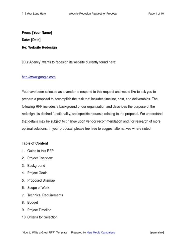 Sample Website Design Rfp Template Request For Proposal Websites