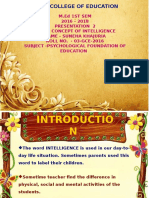 CONCEPT OF INTELLIGENCE By:-SUNEHA KHAJURIA    M.Ed Student