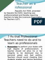 The Teacher as a Professional